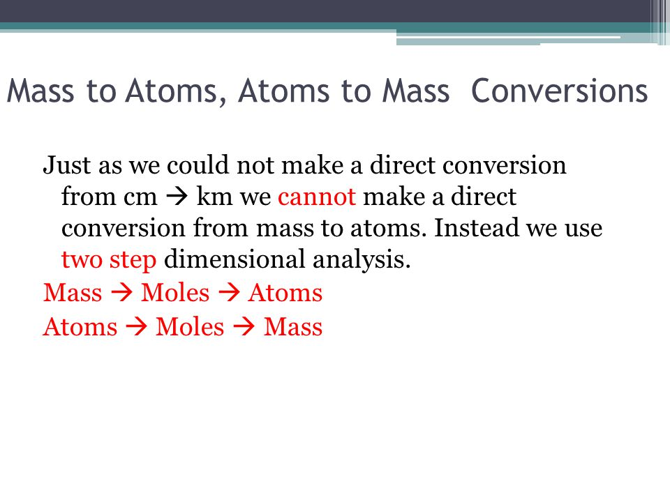 Mass to Atoms, Atoms to Mass Conversions