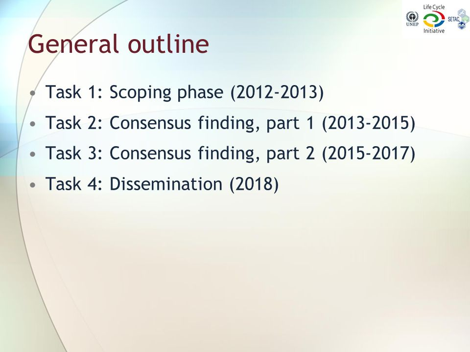 General outline Task 1: Scoping phase (2012-2013)