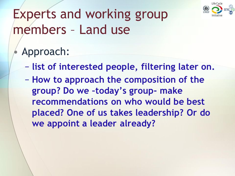 Experts and working group members – Land use