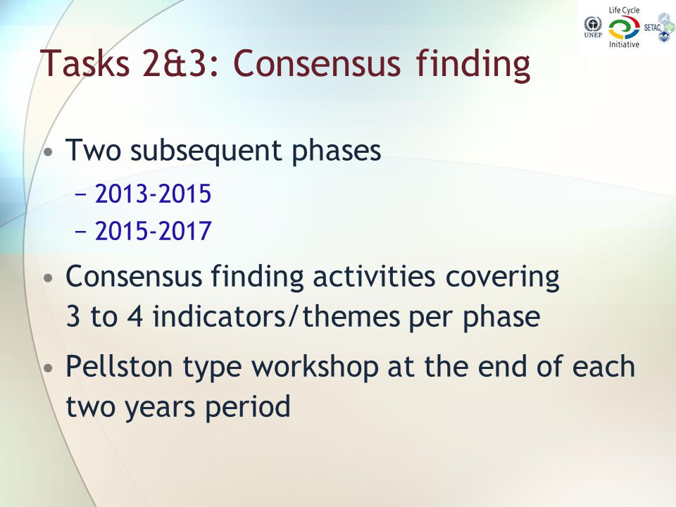 Tasks 2&3: Consensus finding