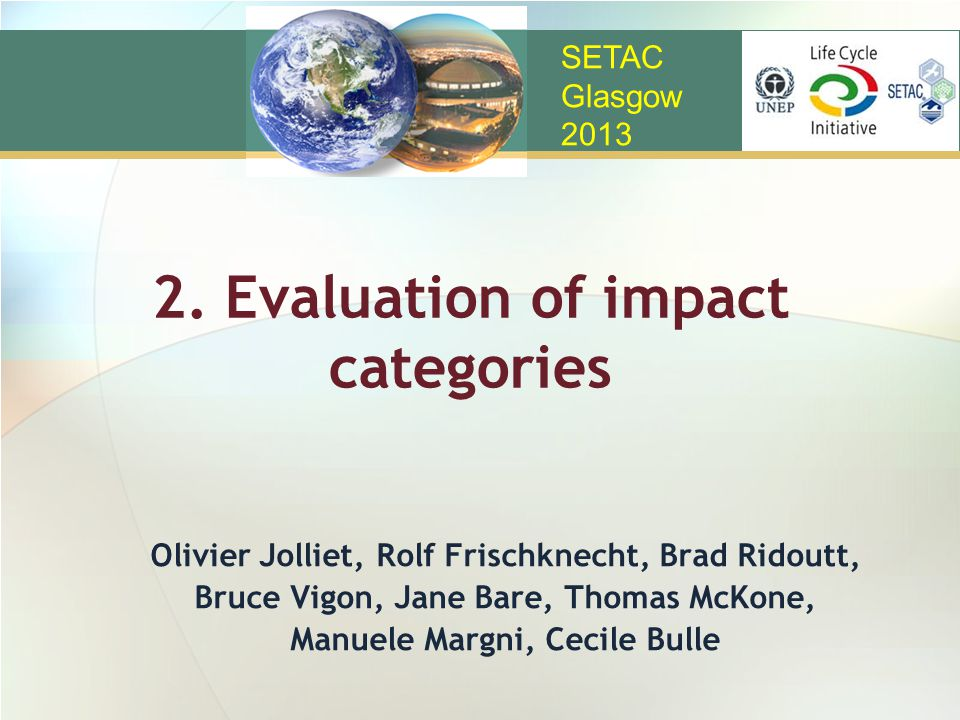 2. Evaluation of impact categories