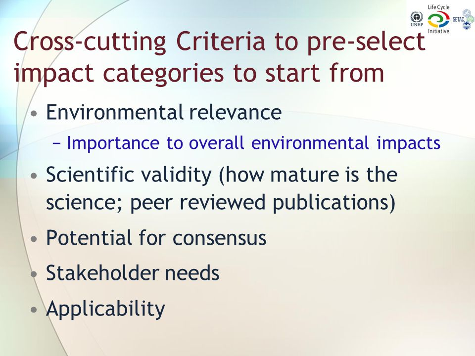Cross-cutting Criteria to pre-select impact categories to start from