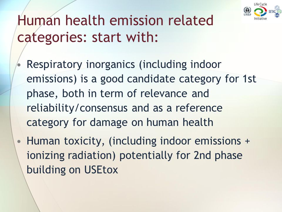 Human health emission related categories: start with: