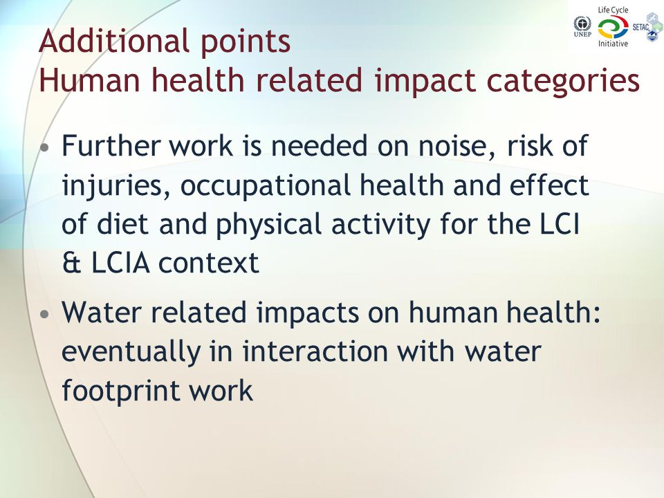 Additional points Human health related impact categories