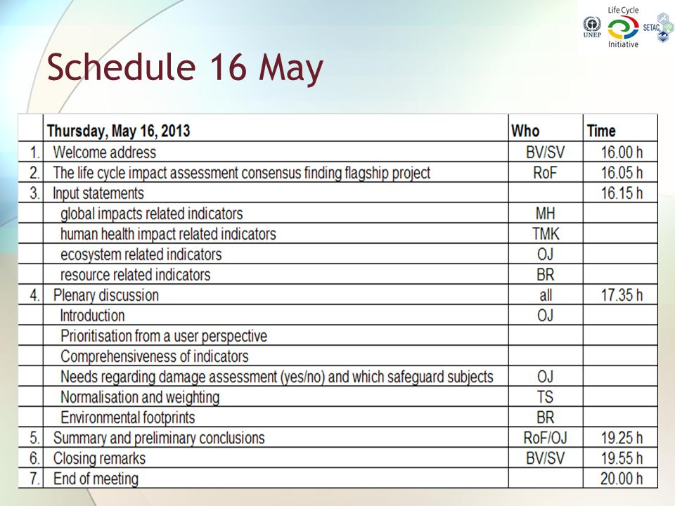 Schedule 16 May