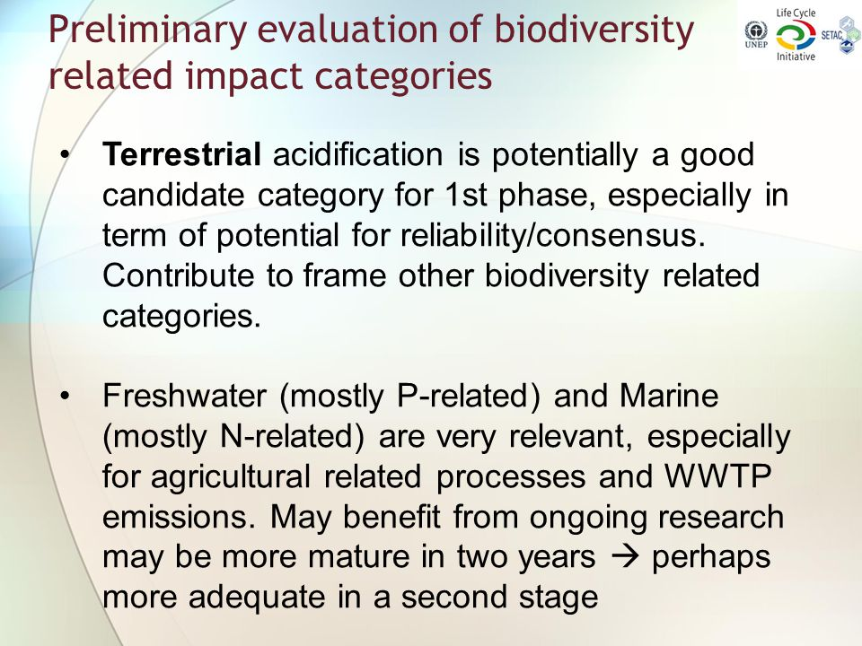 Preliminary evaluation of biodiversity related impact categories