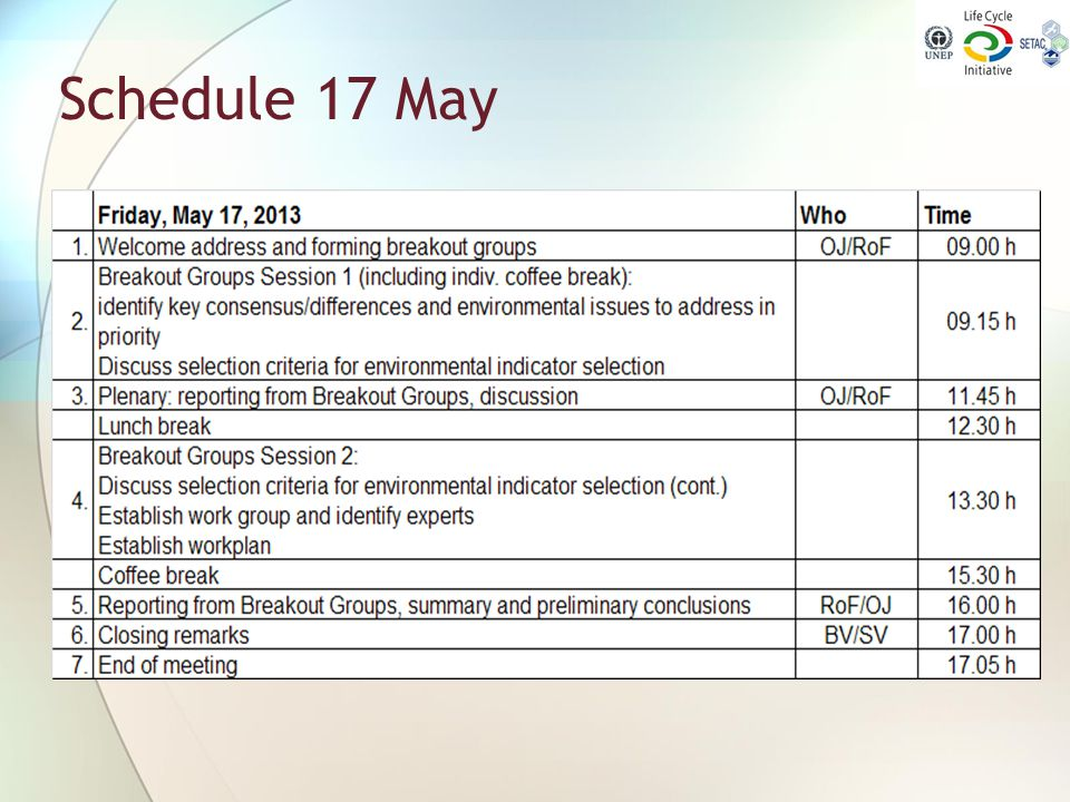 Schedule 17 May