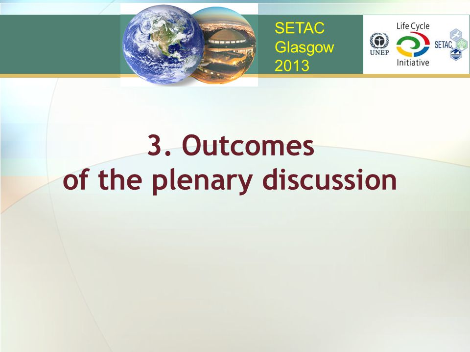 3. Outcomes of the plenary discussion