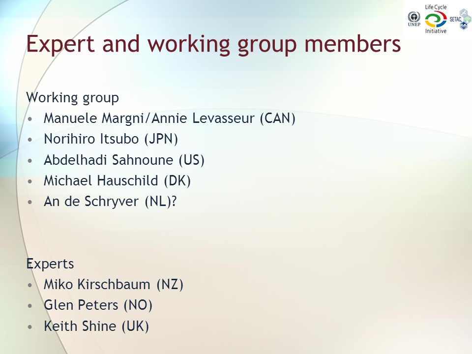 Expert and working group members