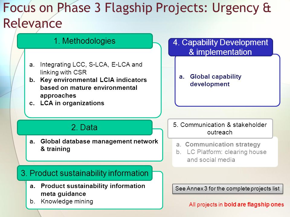 Focus on Phase 3 Flagship Projects: Urgency & Relevance