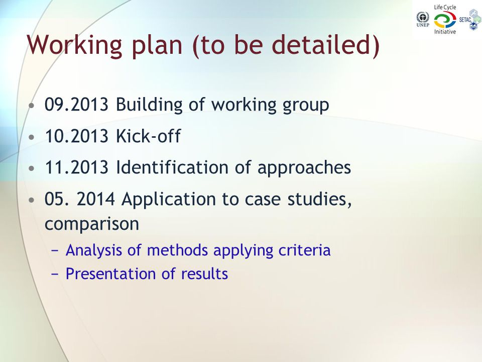 Working plan (to be detailed)