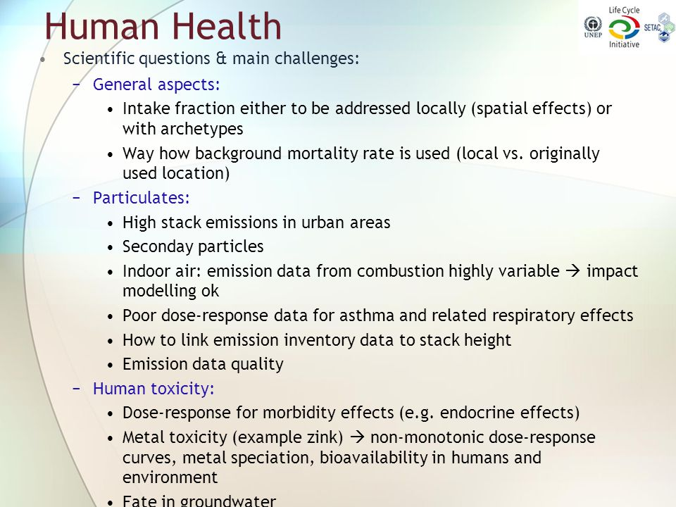 Human Health Scientific questions & main challenges: General aspects: