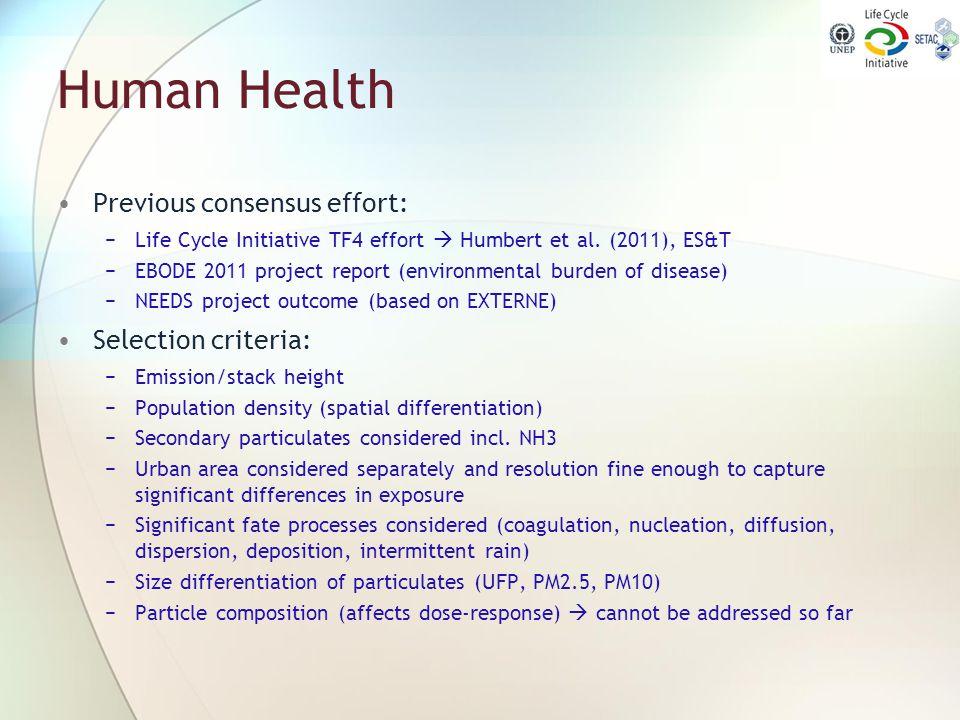 Human Health Previous consensus effort: Selection criteria: