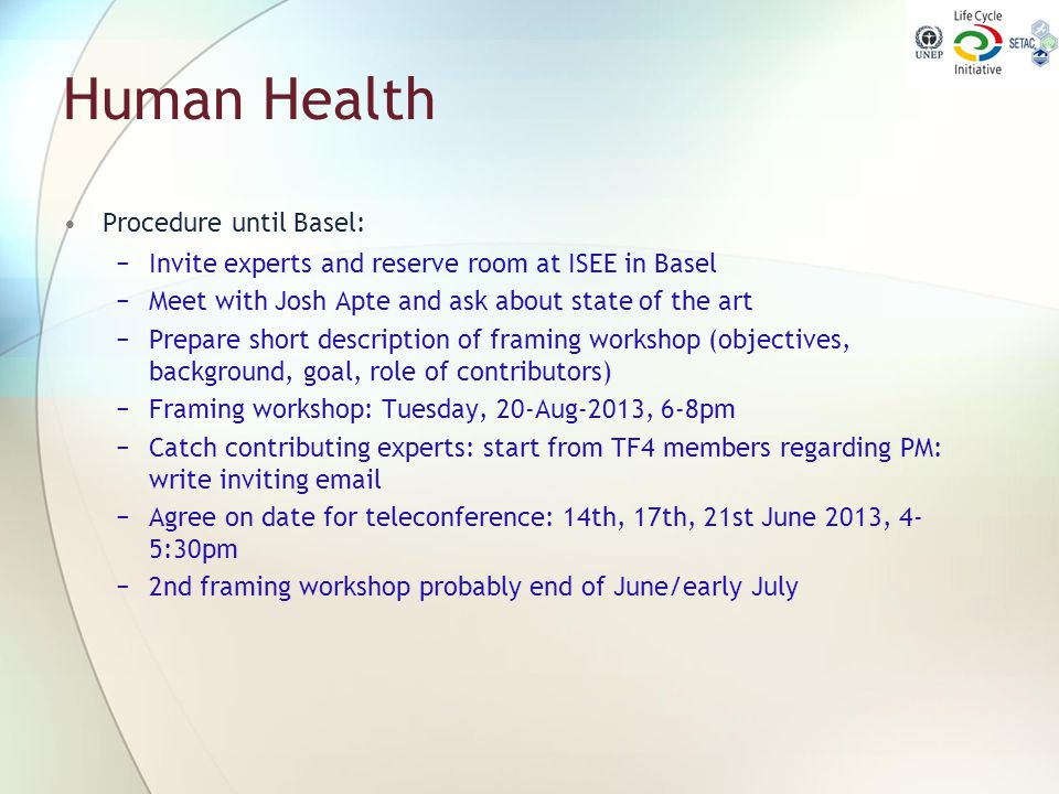 Human Health Procedure until Basel: