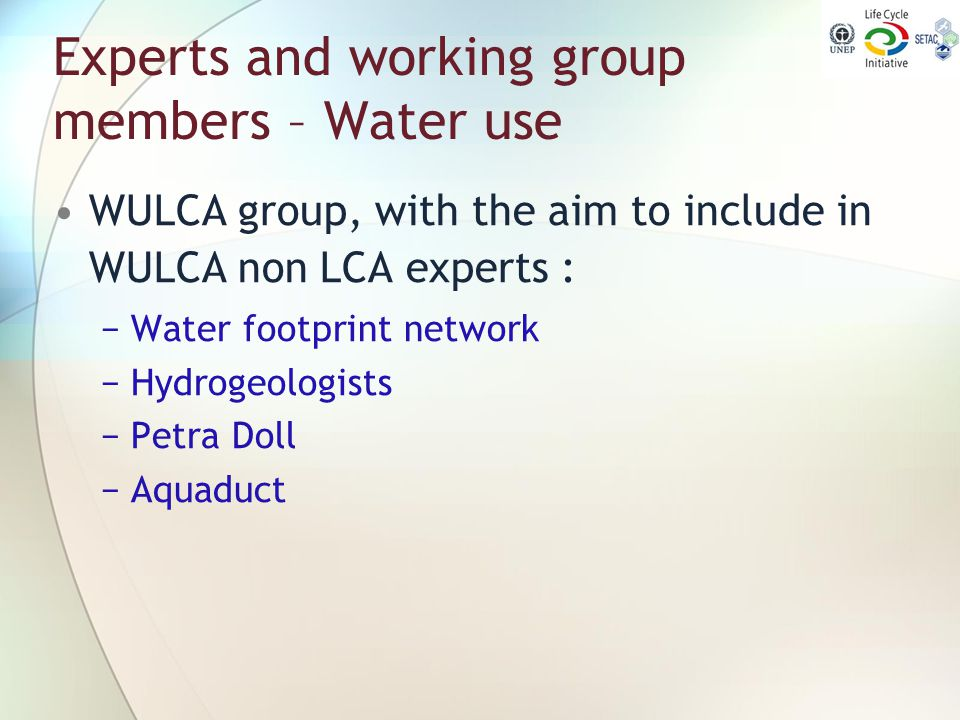 Experts and working group members – Water use