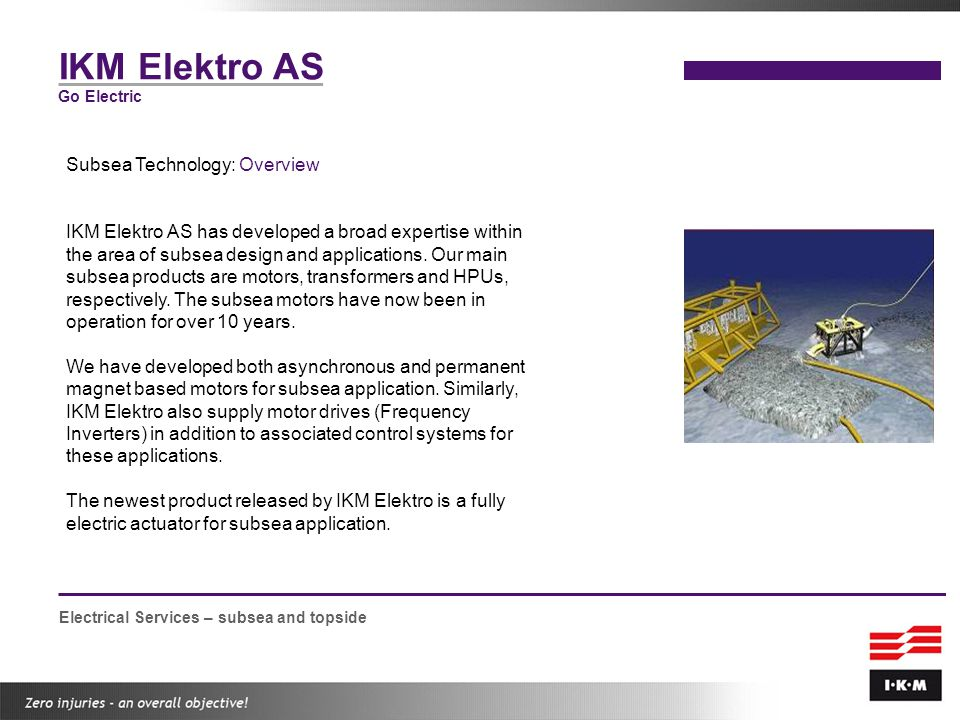 IKM Elektro AS Subsea Technology: Overview