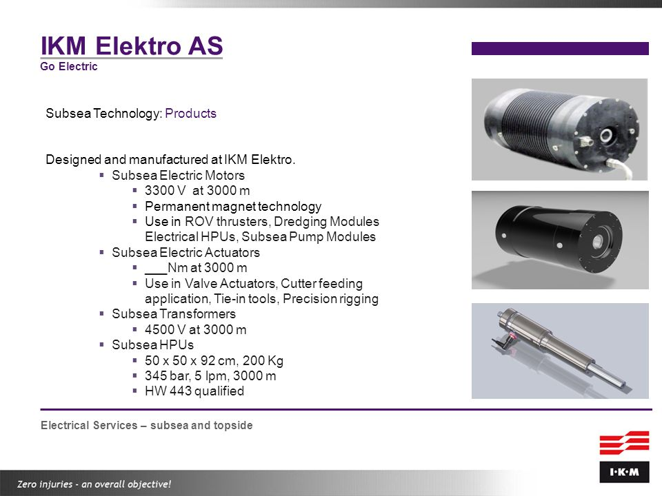 IKM Elektro AS Subsea Technology: Products