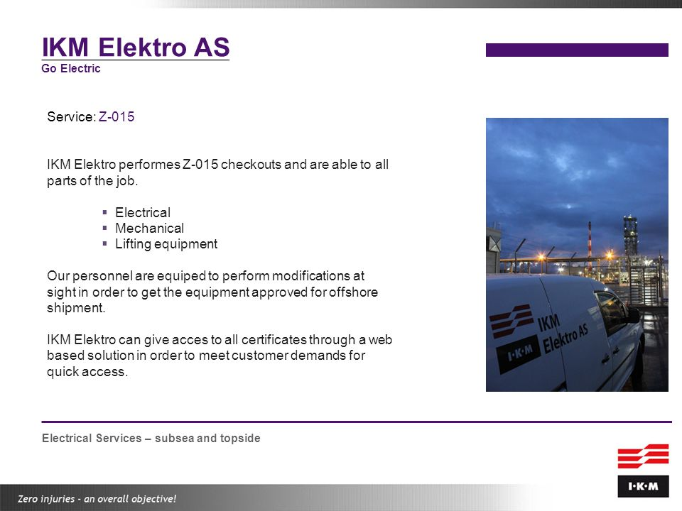 IKM Elektro AS Service: Z-015