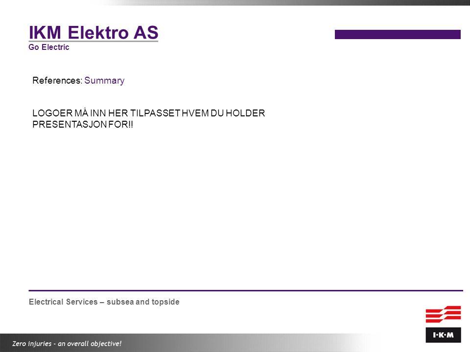 IKM Elektro AS References: Summary