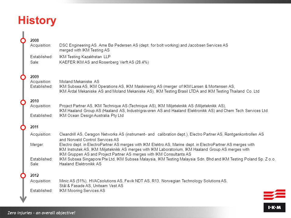 History 2008. Acquisition: DSC Engineering AS. Arne Bø Pedersen AS (dept. for bolt working) and Jacobsen Services AS merged with IKM Testing AS.