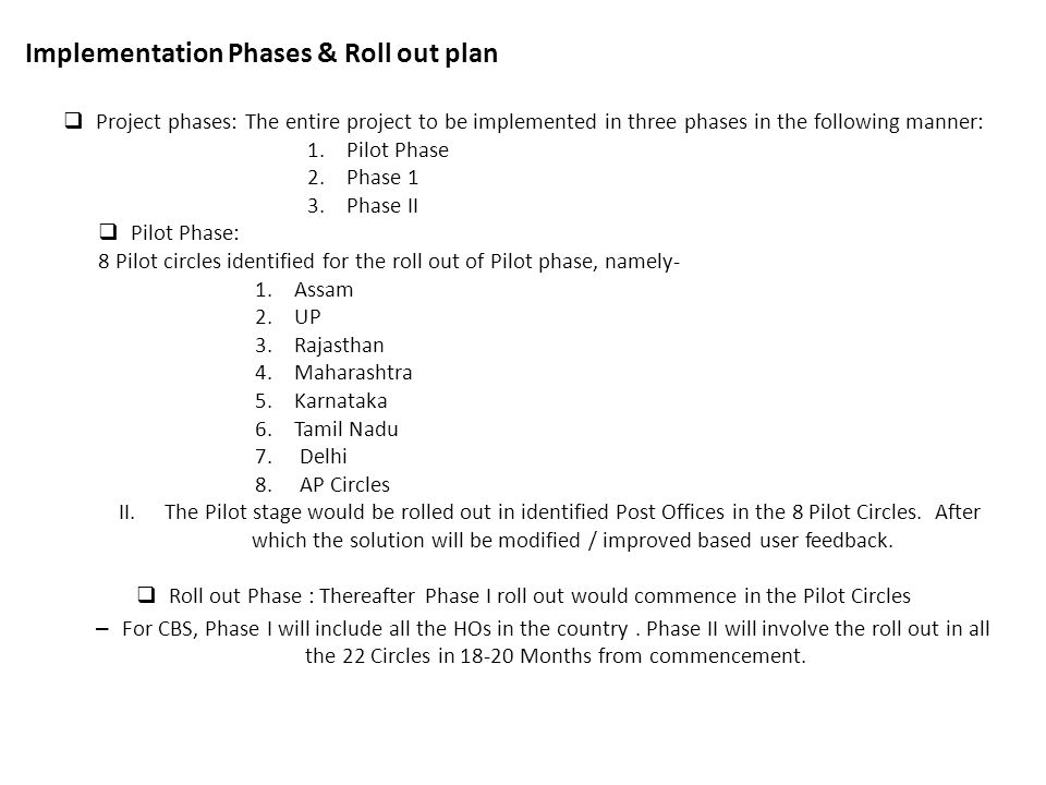 Implementation Phases & Roll out plan