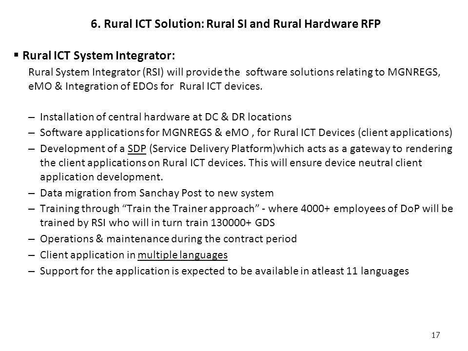 6. Rural ICT Solution: Rural SI and Rural Hardware RFP