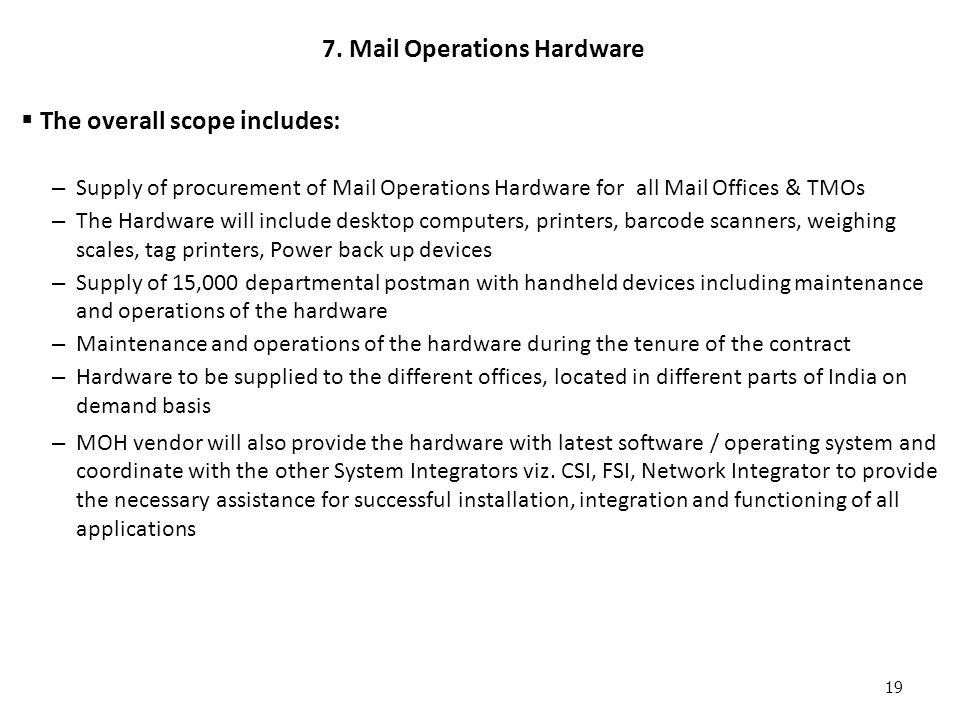 7. Mail Operations Hardware