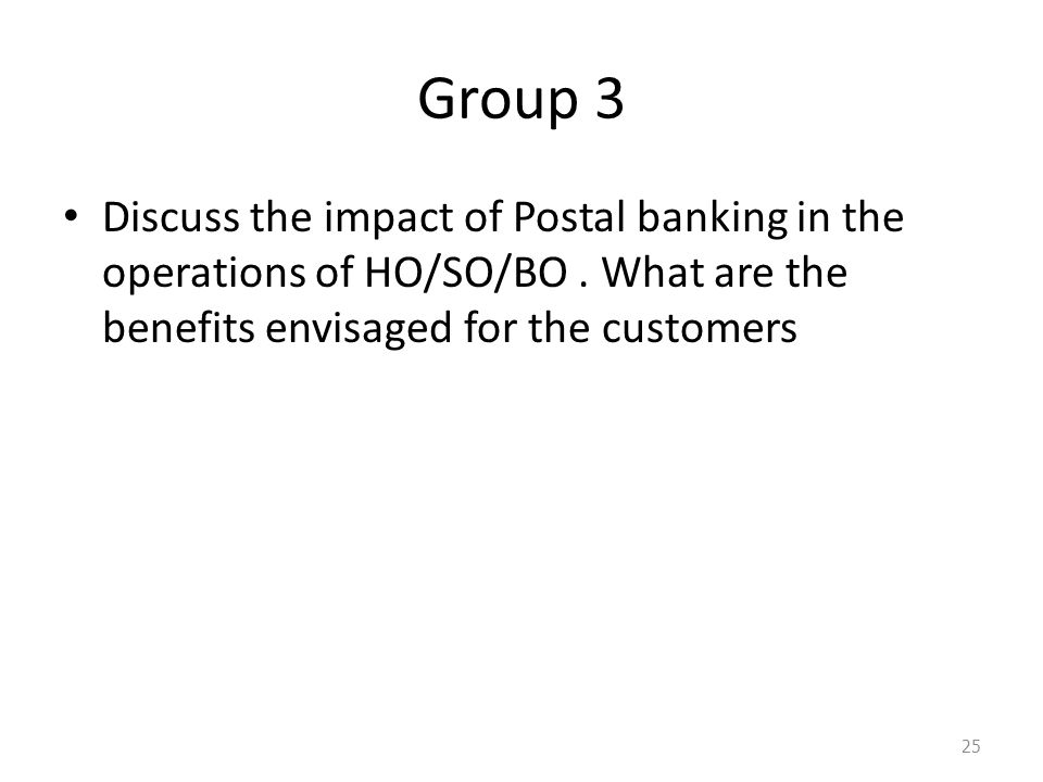 Group 3 Discuss the impact of Postal banking in the operations of HO/SO/BO .