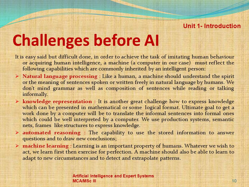 Challenges before AI Unit 1- Introduction