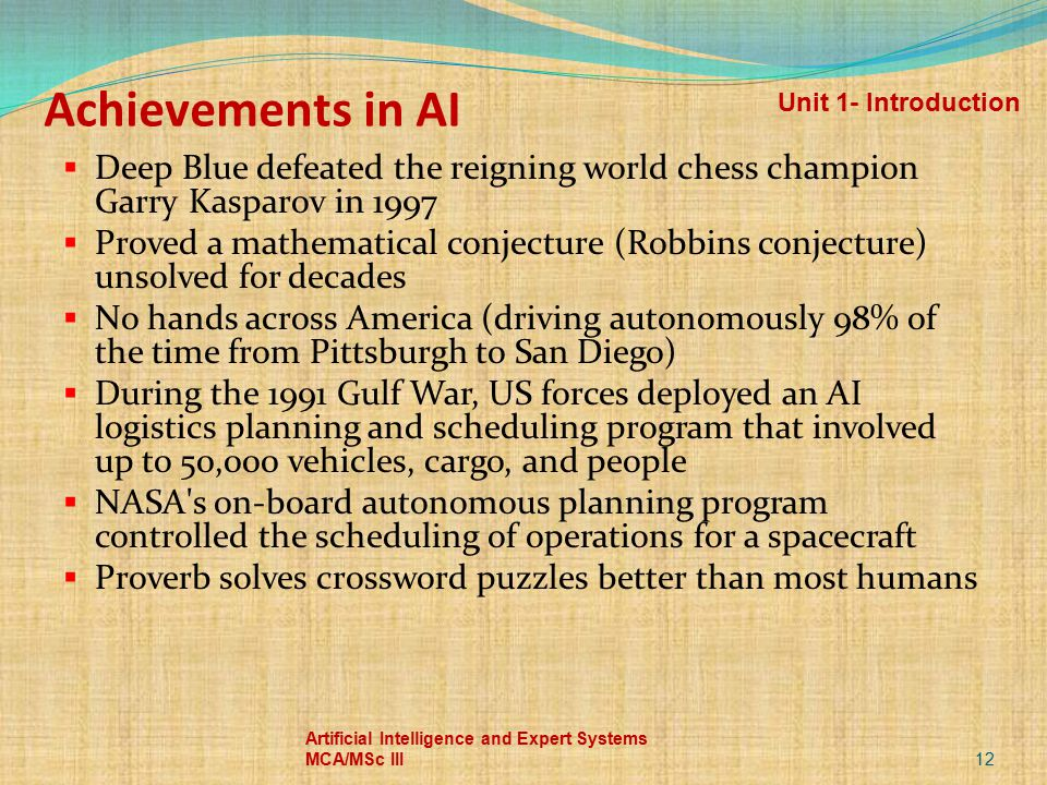 Achievements in AI Unit 1- Introduction. Deep Blue defeated the reigning world chess champion Garry Kasparov in 1997.