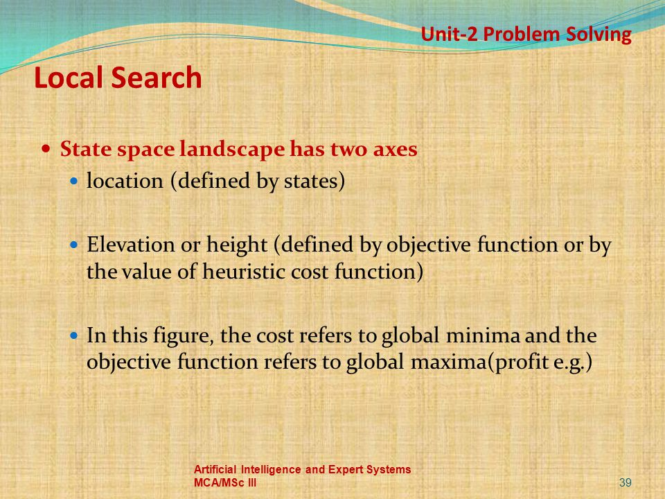 Local Search Unit-2 Problem Solving State space landscape has two axes