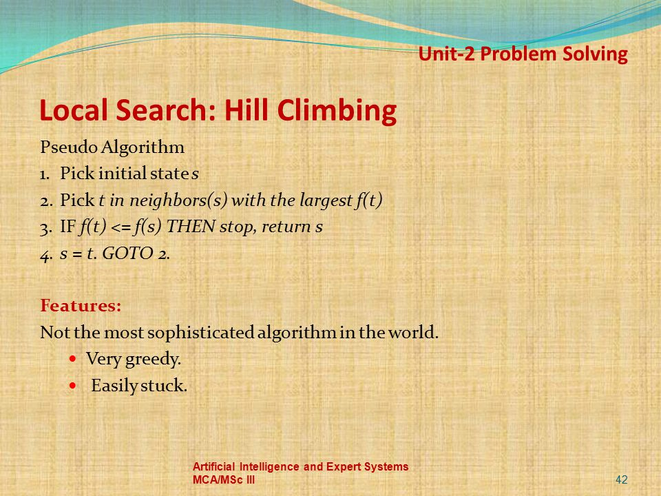 Local Search: Hill Climbing