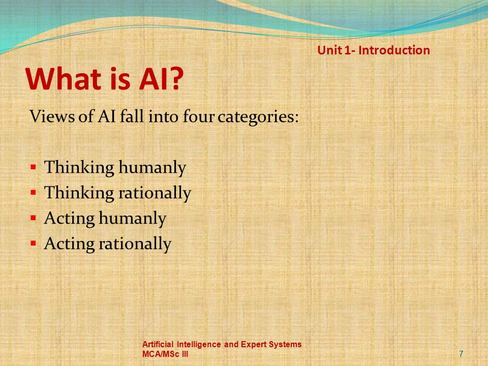 Unit 1- Introduction What is AI