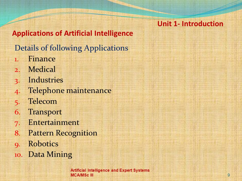 Unit 1- Introduction Applications of Artificial Intelligence