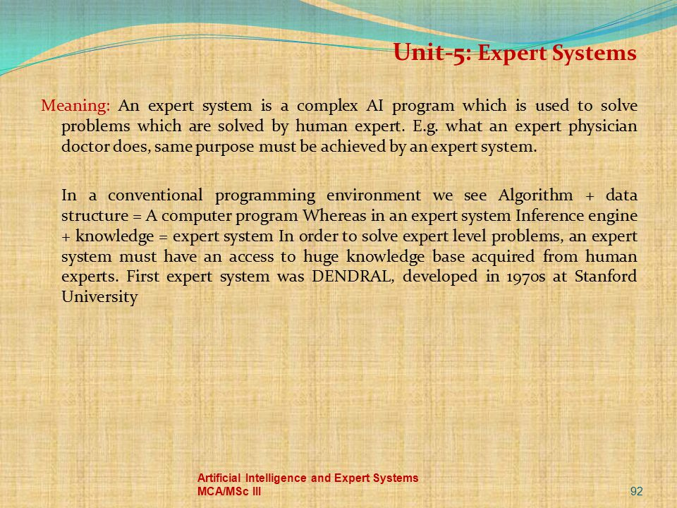 Unit-5: Expert Systems