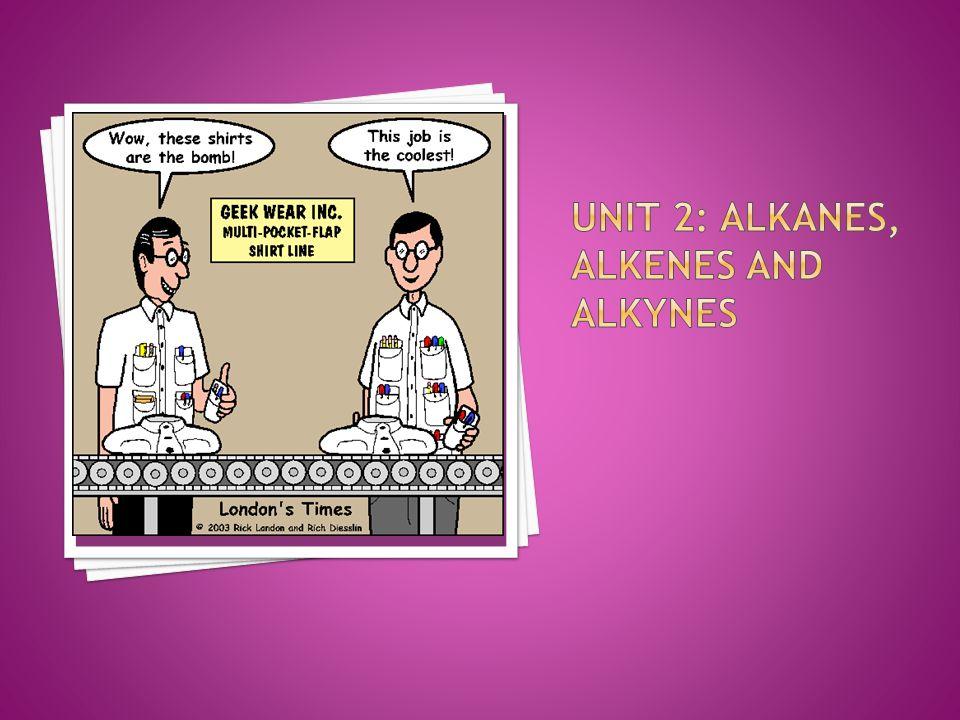 Unit 2: Alkanes, alkenes and alkynes
