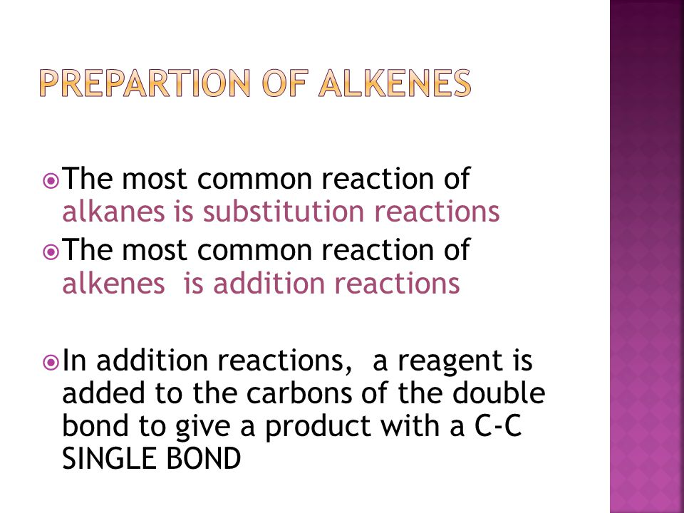 Prepartion of Alkenes The most common reaction of alkanes is substitution reactions. The most common reaction of alkenes is addition reactions.