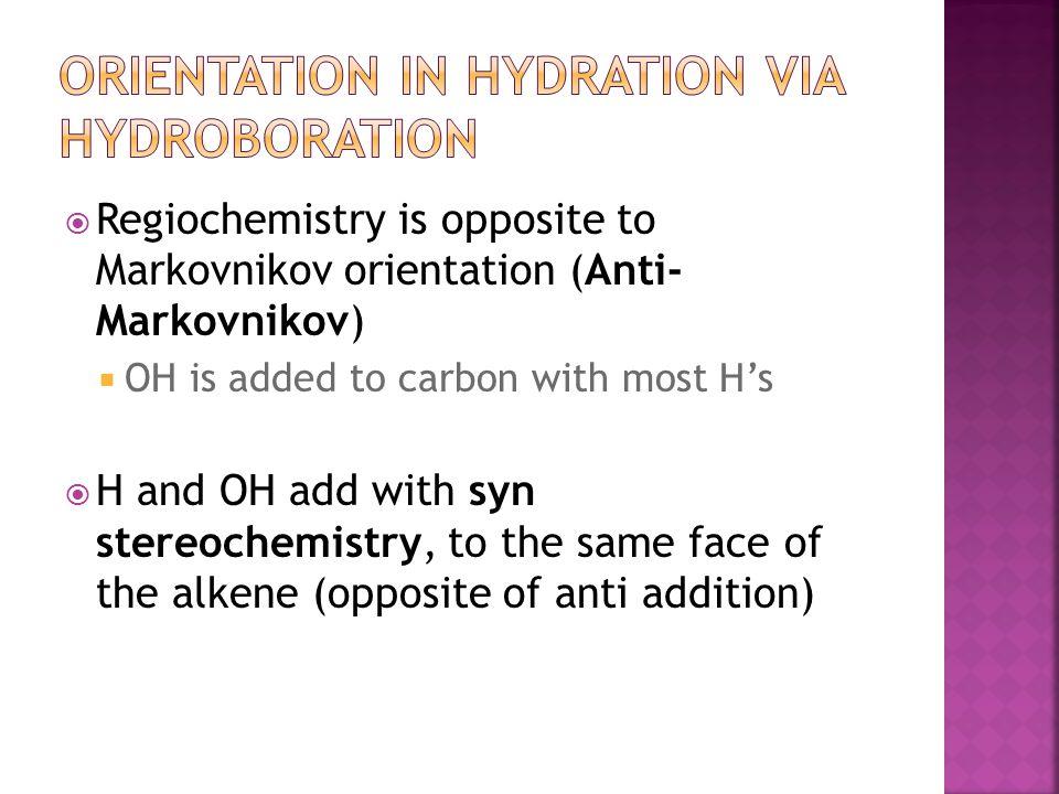 Orientation in Hydration via Hydroboration