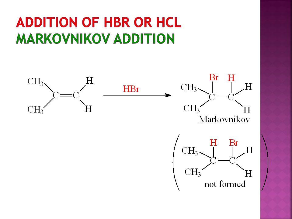 Addition of HBr or HCl Markovnikov Addition