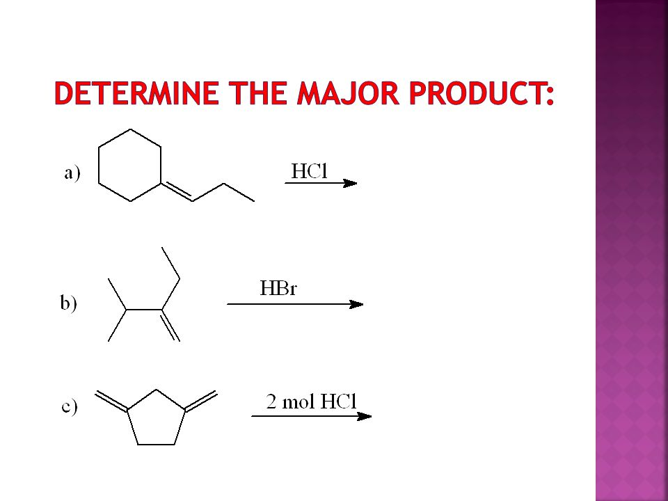 Determine the major product:
