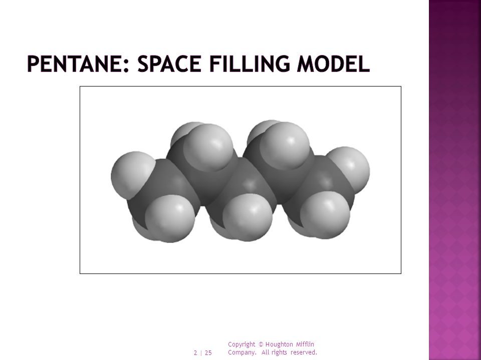 Pentane: space filling model