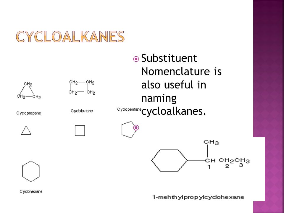 cycloalkanes Substituent Nomenclature is also useful in naming cycloalkanes.
