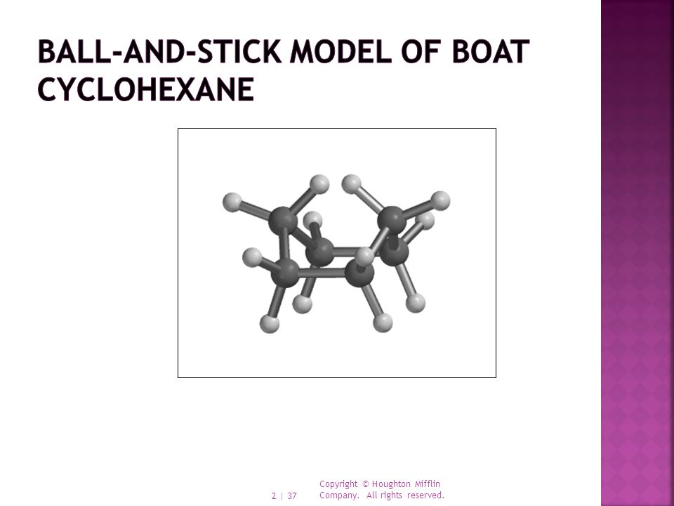 Ball-and-stick model of boat cyclohexane