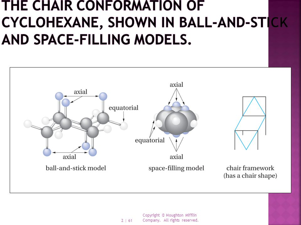 The chair conformation of cyclohexane, shown in ball-and-stick and space-filling models.