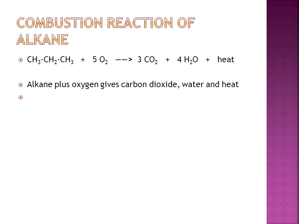 Combustion reaction of alkane