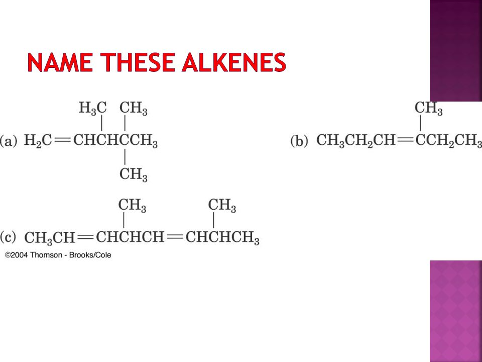 Name these Alkenes