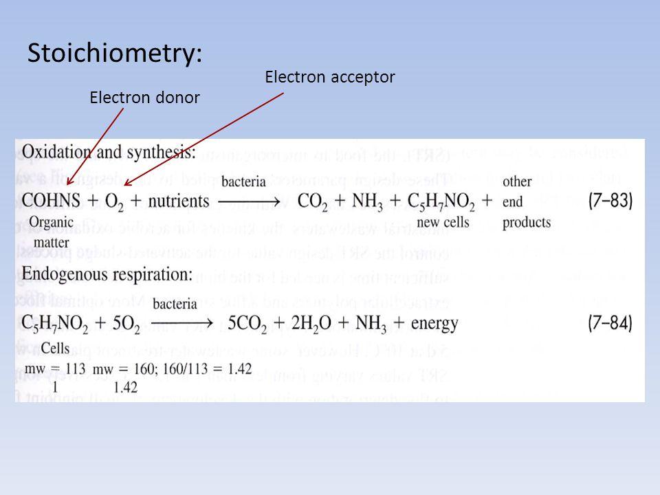 Stoichiometry: Electron acceptor Electron donor