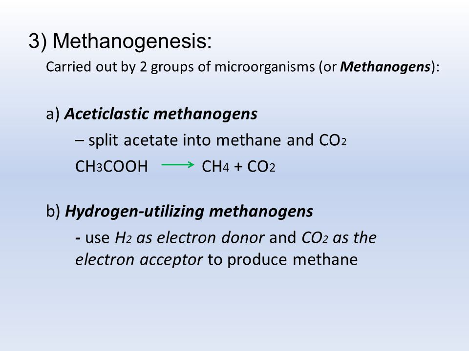 3) Methanogenesis: – split acetate into methane and CO2