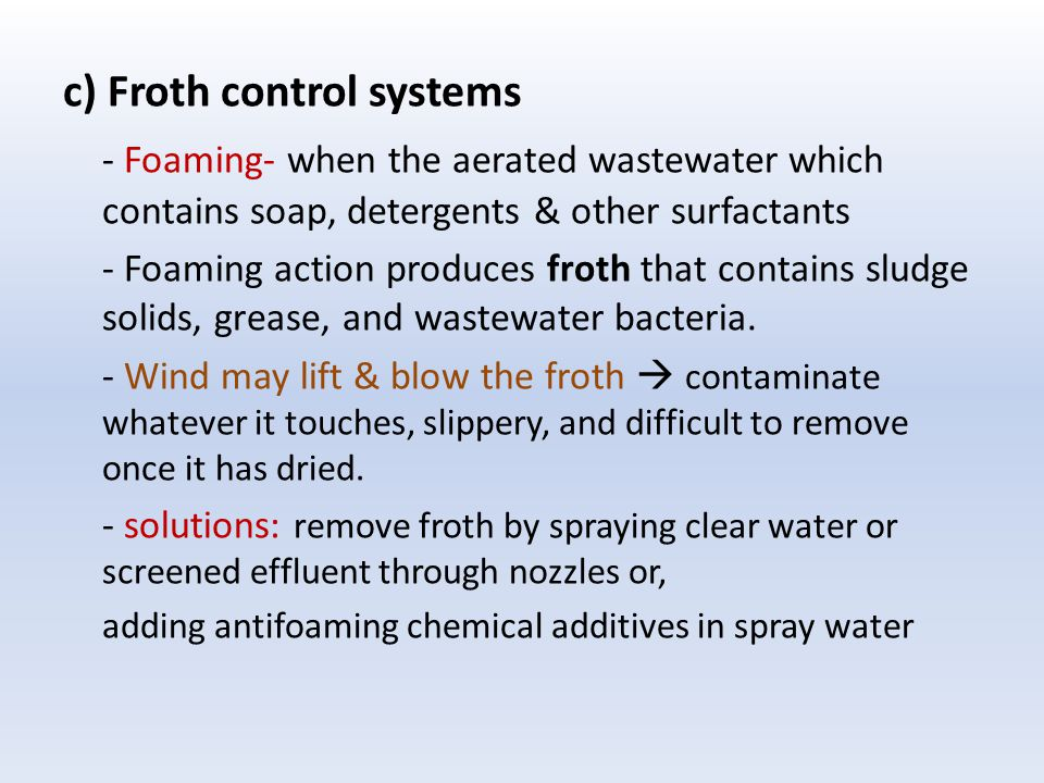 c) Froth control systems