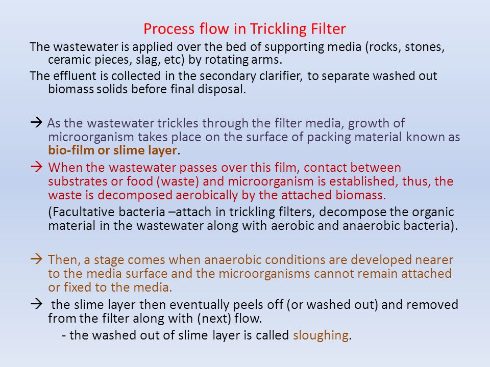 Process flow in Trickling Filter